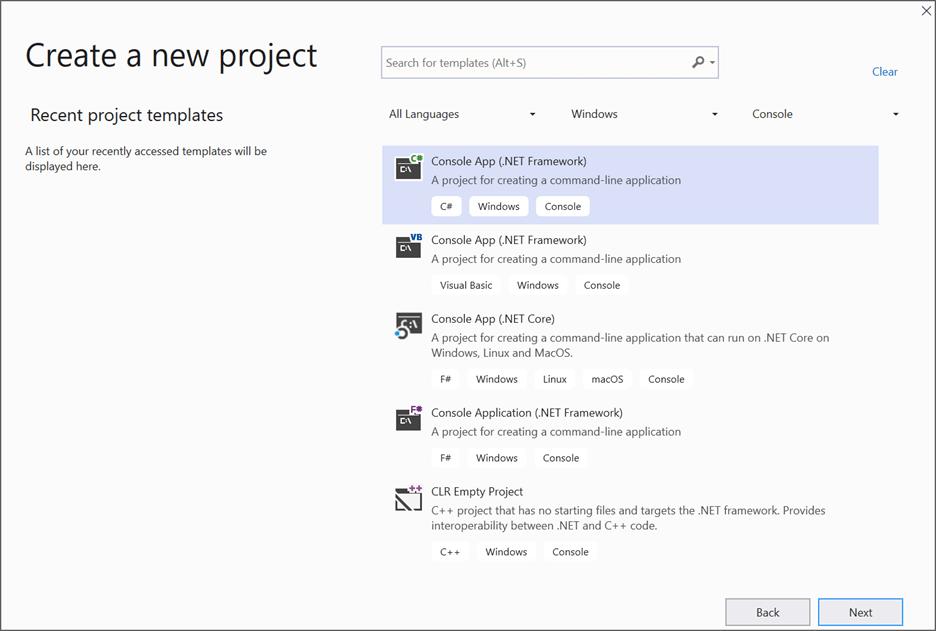 Create a console application