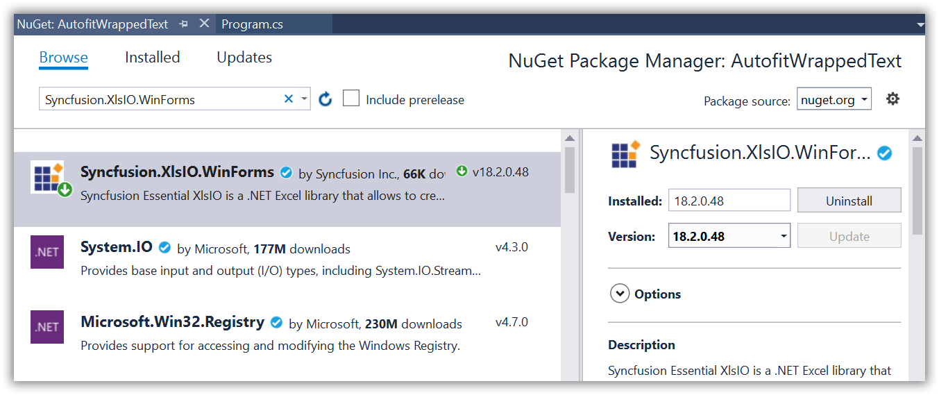 Install XlsIO NuGet package