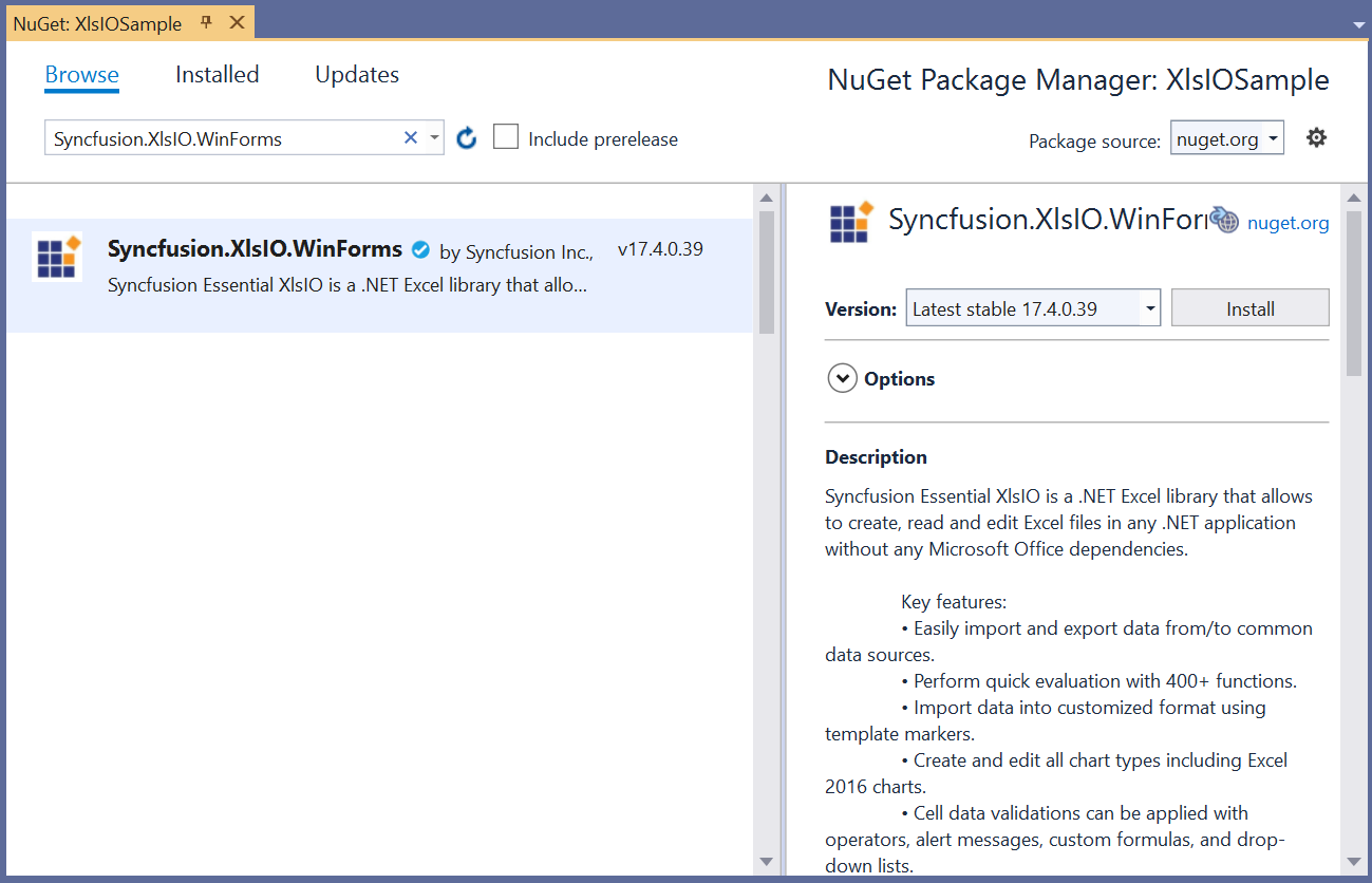 Add NuGet package to the project