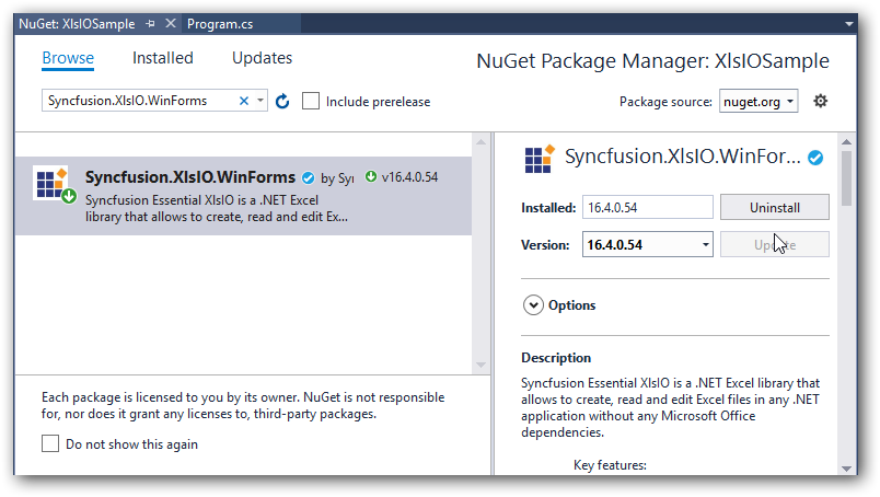 Install NuGet Package