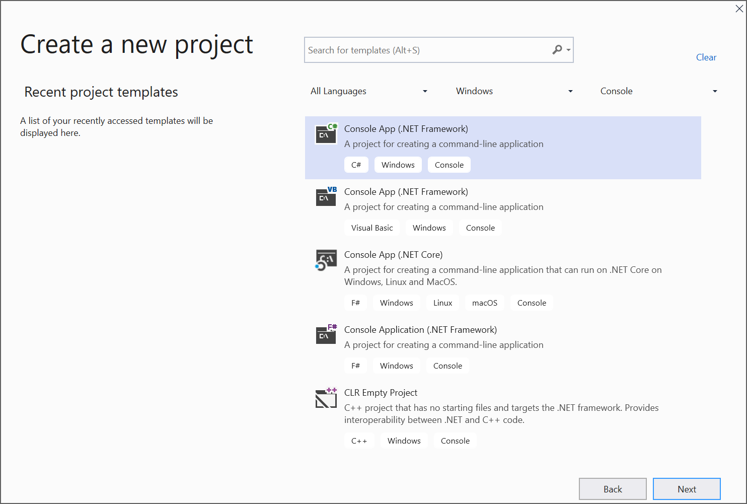 Create a new C# console application project