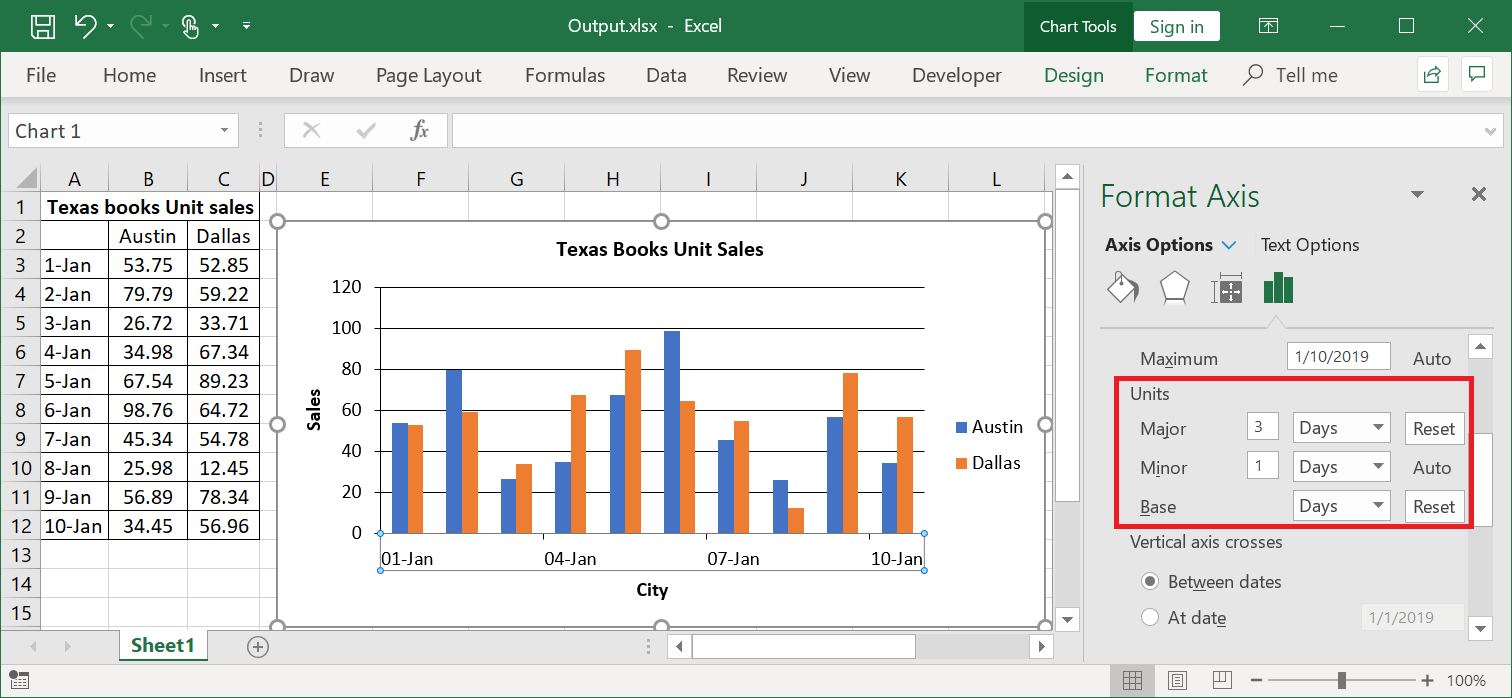 Output Excel document