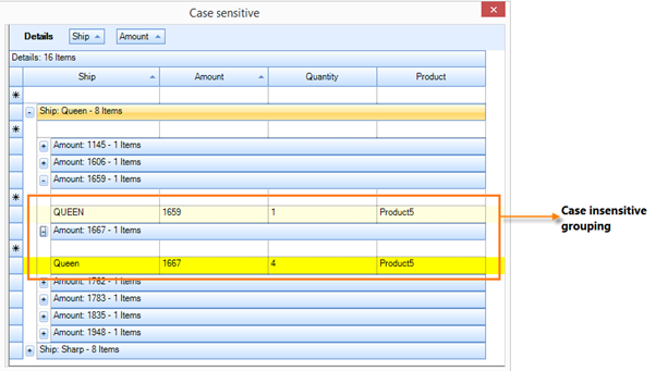 Show grouping ship and amount column