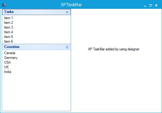 XPTaskBar created through designer