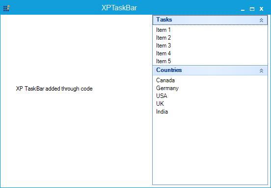 XPTaskBar created through code