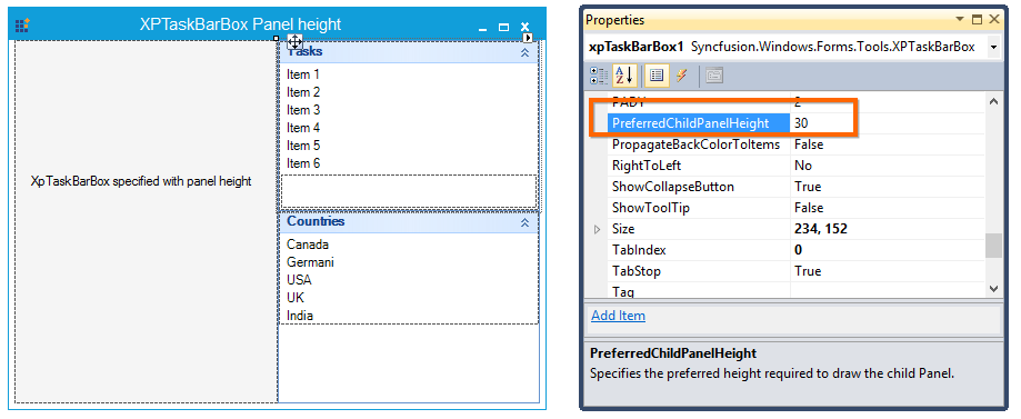 PreferredChildPanelHeight specified for XP TaskBarBox is 30