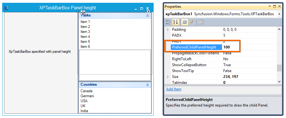 PreferredChildPanelHeight specified for XP TaskBarBox is 100