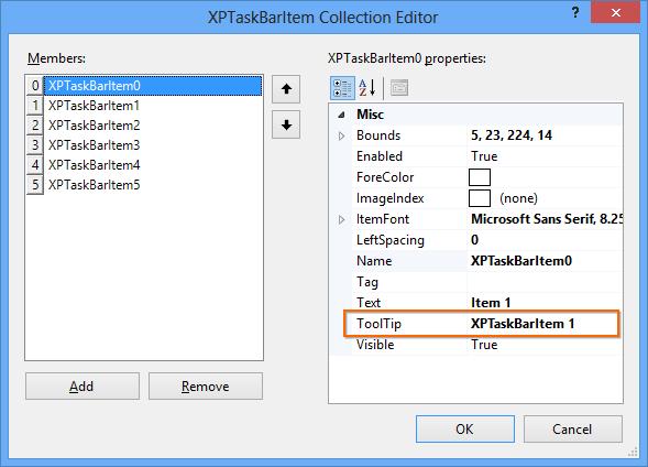 XPTaskBarItem collection editor