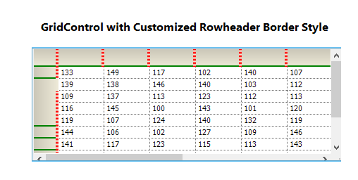 GridControl with customized rowheader border style