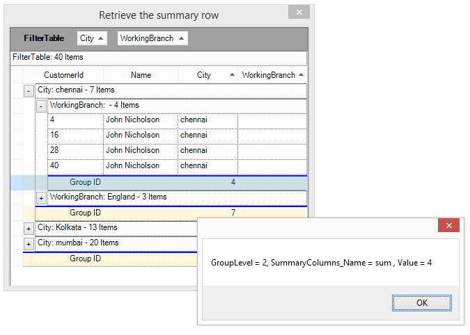 Show the information of summary row