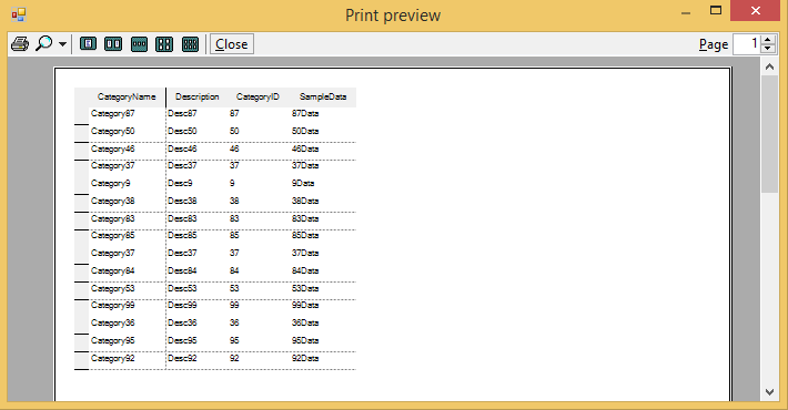 Show the print preview of grid in left position