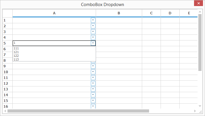 Dropdown list values entered into grid cell