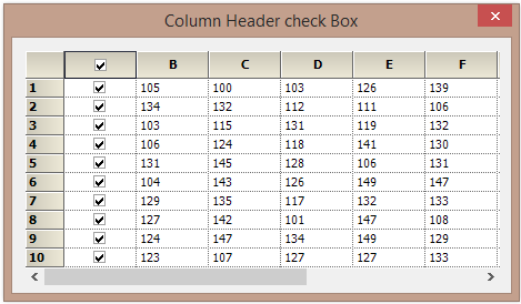 Show the checkbox in header cell