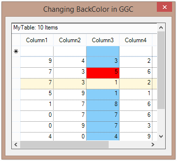 Show change the backcolor of row and cell