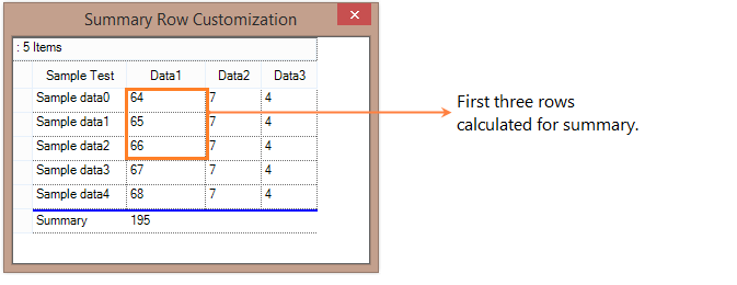 Summary row calculated for first three rows