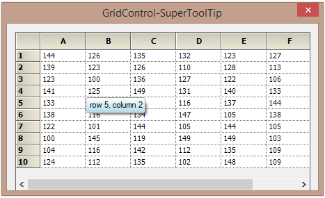 Show the tooltip to grid cell