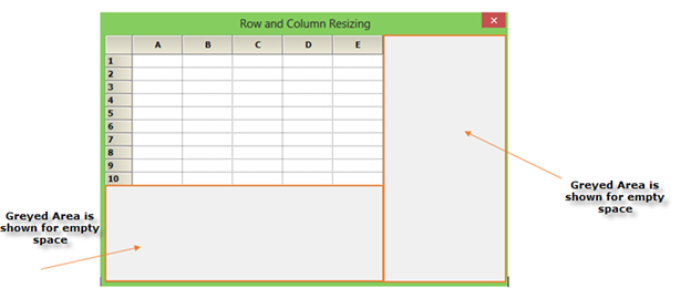 Resize the row and column