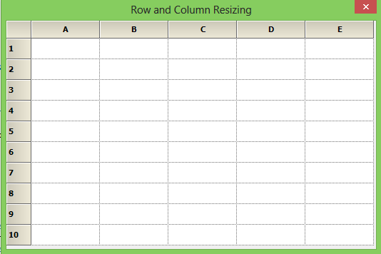 Resized row height and column width of grid