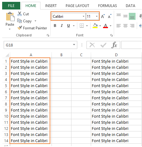Font type in excel