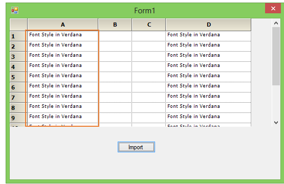 Font type in grid after importing from excel sheet