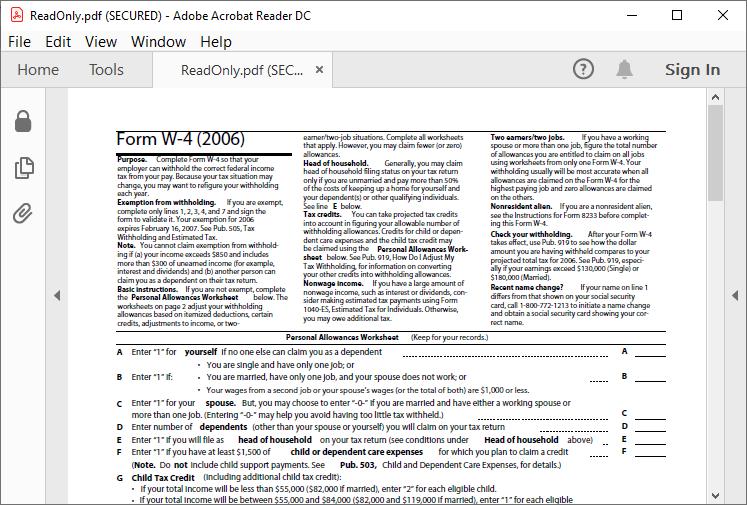 Secured PDF document