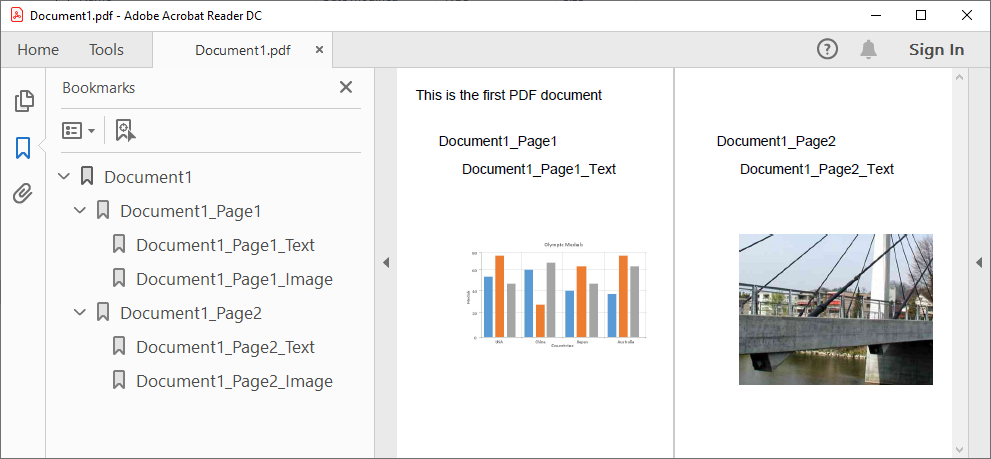 PDF document with bookmarks