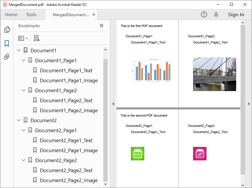 Merged PDF document with grouped bookmarks