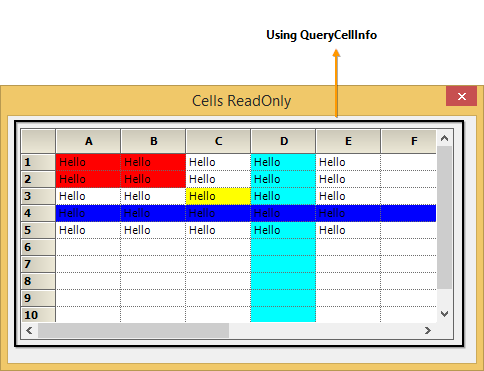 Set cells into readonly