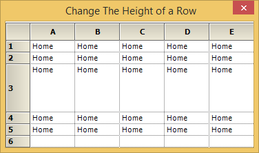 Change the height of a row