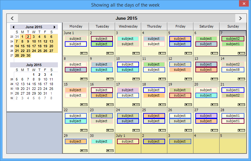 Show all days of the week in ScheduleControl