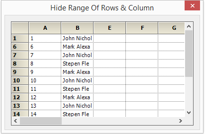 Rows and columns hidden in the grid