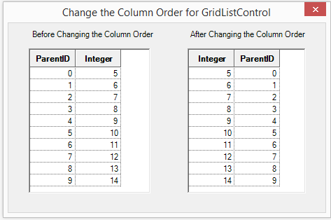 Change the column order for GridListControl
