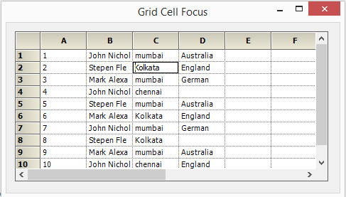 Current cell focus is moved to another cell