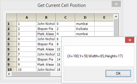 Show the current cell position