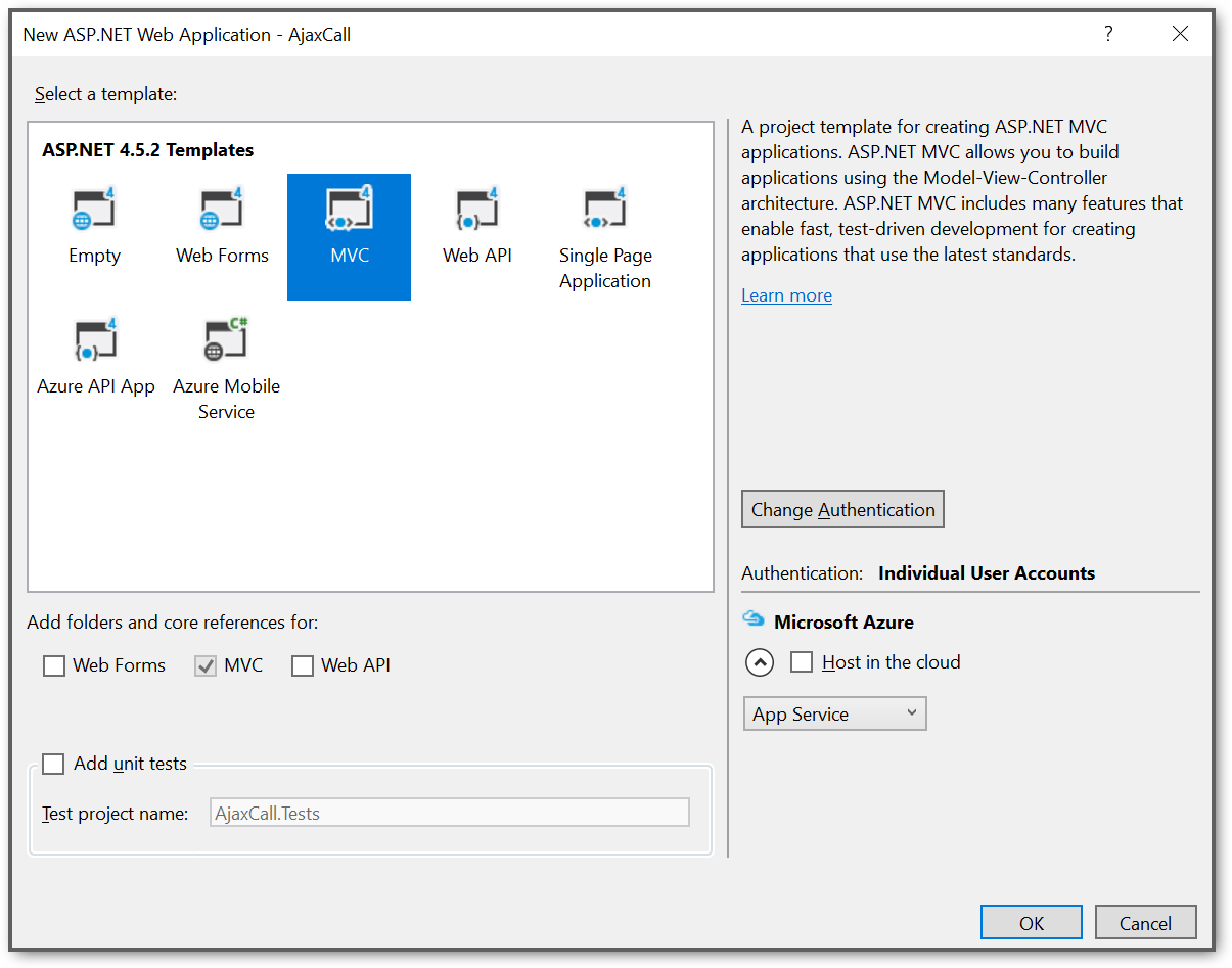 Create a ASP.NET MVC application project