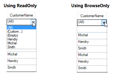 filtering dropdown in readonly and browseonly
