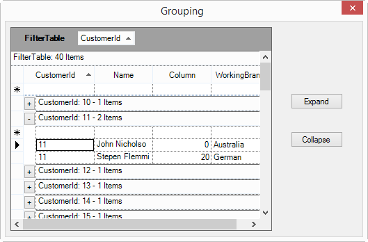 Show the new group in table
