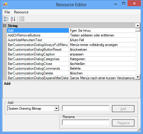 Showing string resources localized in German