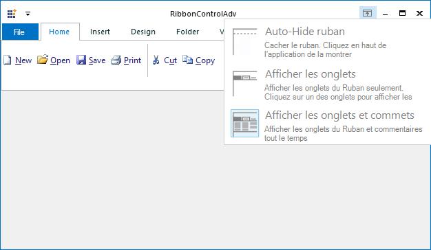 Localized ribbon display option