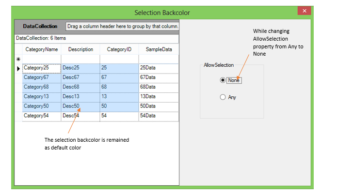 Show the backcolor while changing AllowSelection from Any to None