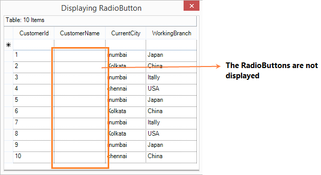 Show the grid cell without radio button