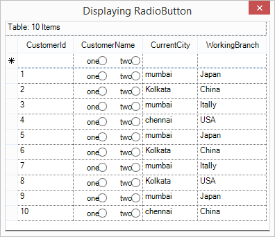 Show the grid cell with radio button