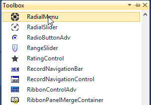 Drag and drop RadialMenu from toolbox