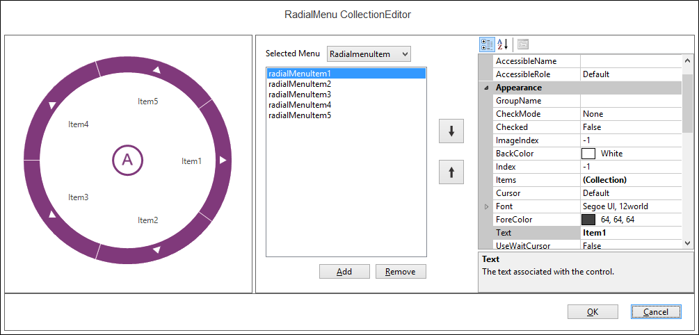 Show the RadialMenu Collection Editor window