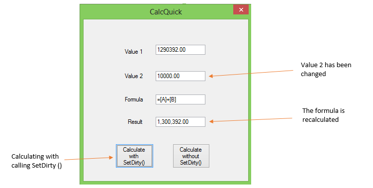 Calulate with SetDirty()