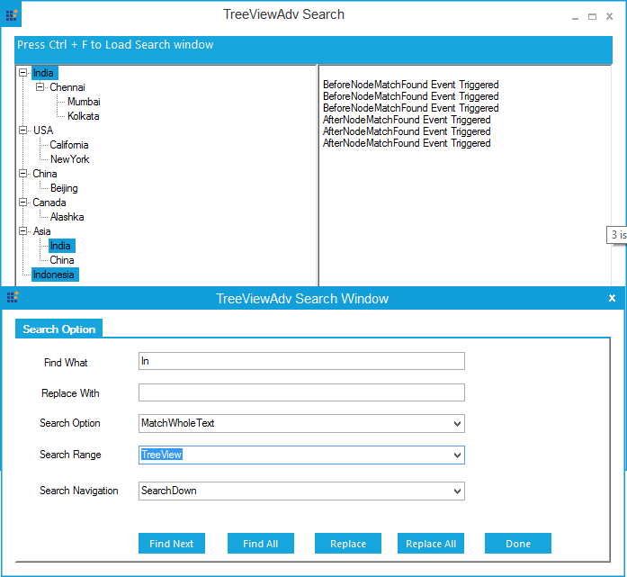 TreeViewAdv performing search range with TreeView