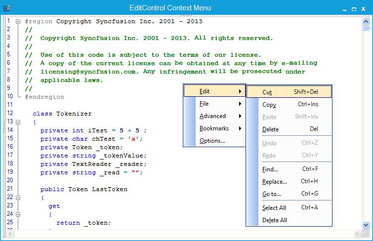Default shortcut key for context menu items