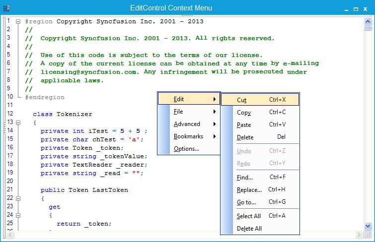 Shortcut modified for context menu items