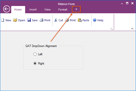 QAT Dropdown button placed in right side of toolstriptab item