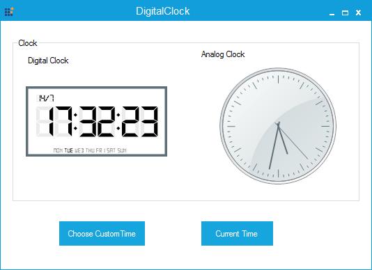 Analog and Digital clock with custom time